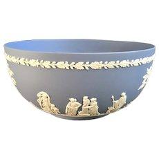 "Wedgwood Pale Blue Jasperware Round Sacrifice Imperial Bowl 8"""