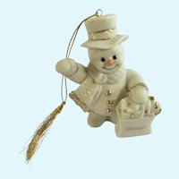 Lenox Snowman Bonnie Porcelain Figurine Shopping Ornament
