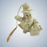 Lenox Snowman Bonnie Porcelain Figurine Shopping Ornament