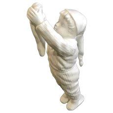 Dept 56 Christmas Boy Hanging Stocking Bisque Silhouette Figurine