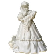 Dept 56 Christmas Girl Holding Doll Bisque Silhouette Figurine