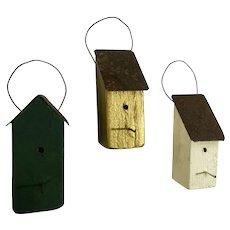 Country Christmas Wood Birdhouse Folk Art Ornaments