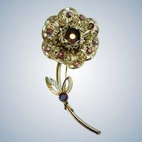 1961 Sarah Coventry Fashion Flower Aurora Borealis Rhinestone Brooch Pin