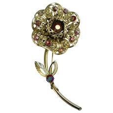 1961 Sarah Coventry Fashion Flower Aurora Borealis Rhinestone Brooch Pin