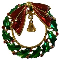 Christmas Wreath & Bell with Sparkle Red Bow Pin Brooch