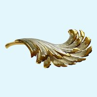 Gold-Tone & Silver-tone Leaf Brooch Pin