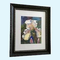 Thomas J Owens, Original Iris Flower Watercolor Painting Signed By Listed Artist 1980's Colorado Artist NWS / AWS