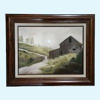 J Farr, Old Barn Landscape Oil Painting Signed by Artist