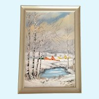 Kelley, Snow Covered Landscape Oil Painting Signed by Artist 1948