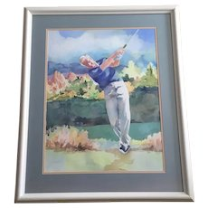 Lora Kemper Coley (1933-2018) Golf Pro Watercolor Painting Signed by Artist