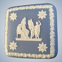Wedgwood Pale Blue Jasperware  Square Box Icarus & Daedalus Lid Only