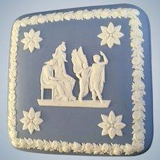 Wedgwood Pale Blue Jasperware  Square Box Icarus & Daedalus Lid Only