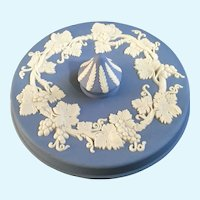 Wedgwood Pale Blue Jasperware Round Box Lid Only Grape Pattern