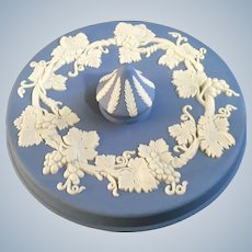 Wedgwood Pale Blue Jasperware Round Box Lid Only Grape Pattern