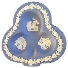 Wedgwood Pale Blue Jasperware Cards Club Clover Shaped Ashtray