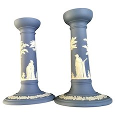 Wedgwood Pale Blue Jasperware Candlesticks