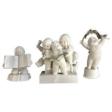Dept 56 Snowbabies Sing Me a Song, Rejoice, Winter Celebration Bisque Figurines