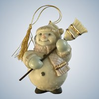 Lenox Happy Snowman Christmas Ornament with Broom