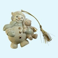 Lenox Snowman Christmas Ornament with Teddy Bear