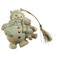 Lenox Snowman Christmas Ornament with Teddy Bear