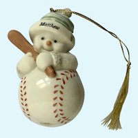 Lenox Baseball Snowman Christmas Ornament Porcelain Named Matthew