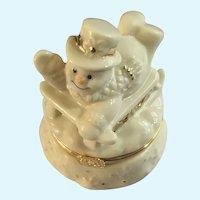 Lenox Snowman Trinket Box with Sled Charm