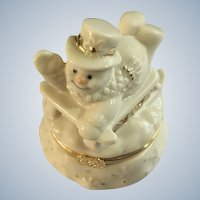 Lenox Snowman Trinket Box with Sled Charm