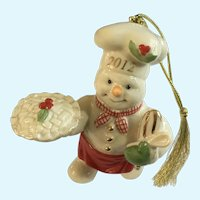 Lenox The Snowy Baker Snowman Pie Christmas Ornament 2012