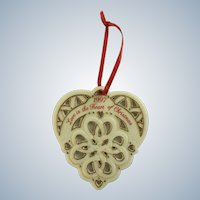 Love is the Heart of Christmas Porcelain Tree Ornament AGC 1997