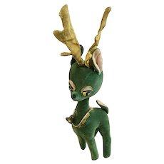 Kamar Reindeer Mid-Century Christmas Plush Japan Green Velvet