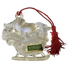 Snoopy and Woodstock in Sleigh Marquis Waterford Crystal Glass Ornament Germany