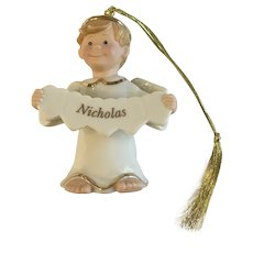 Lenox Christmas, An Angel of My Own Personalized Named Nicholas Ornament