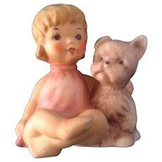 Goebel Hummel Girl with Puppy Dog #10-504-08 (1972-1979) Small Bee Mark TMK-5