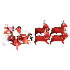 Santa Sleigh & Flocked Reindeer Display Mid-Century Japan