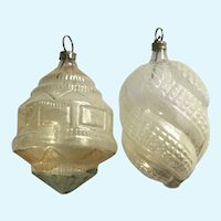 Two Antique Mercury Glass Christmas Ornaments