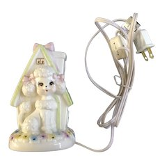 Lefton Poodle Dog Girl Night Light Vintage #04912 1985 Figurine