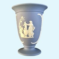 Wedgwood Pale Blue Jasperware Footed Vase