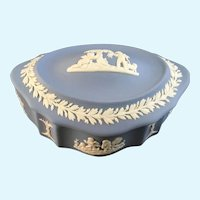 Wedgwood Pale Blue Jasper ware Candy Box with Lid Cherubs