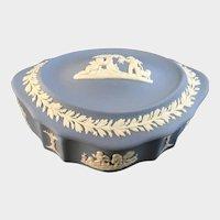 Wedgwood Pale Blue Jasper ware Candy Box with Lid Cherubs