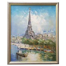 Eiffel Tower Street Scene Oil Painting Signed by Artist
