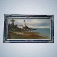 Vintage Nautical Light House Oil Painting on Board