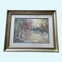 H Norris, Autumn Landscape Watercolor Collage Signed by Artist