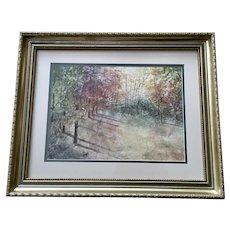 H Norris, Autumn Landscape Watercolor Collage Signed by Artist
