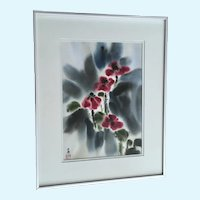 Purple Flowers with Greenery Asian Watercolor Painting Signed by Artist