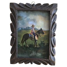 Santana, Cowboy Sitting on Horse, Oil Painting on Tin Metal Plate Signed by Artist