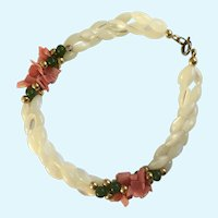 Polished Coral, Jade and Mother of Pearl Bracelet