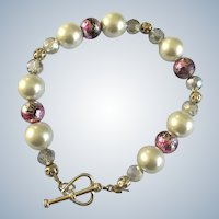 Pink and Faux Pearl Beaded Bracelet