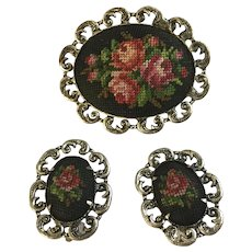 Small Embroidered Roses Earrings and Brooch Pin