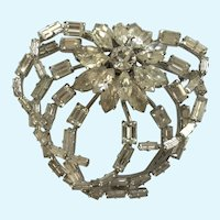 Vintage Austrian Crystal Heart Brooch Pin