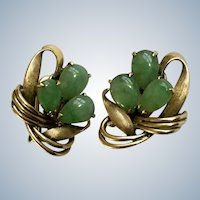 Jade and 14K Gold Earrings 5.5g